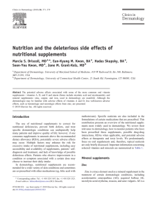 Nutrition and the deleterious side effects of nutritional supplements