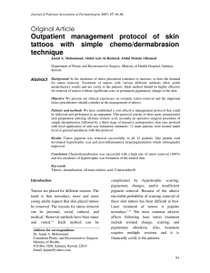 Outpatient management protocol of skin tattoos with simple chemo