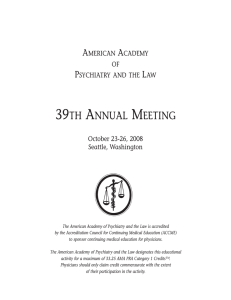 39th annual meeting - American Academy of Psychiatry and the Law