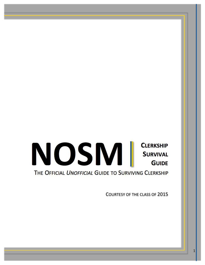Clerkship Guide - Northern Ontario School of Medicine