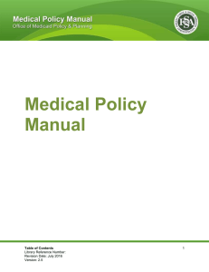 OMPP Medical Policy Manual