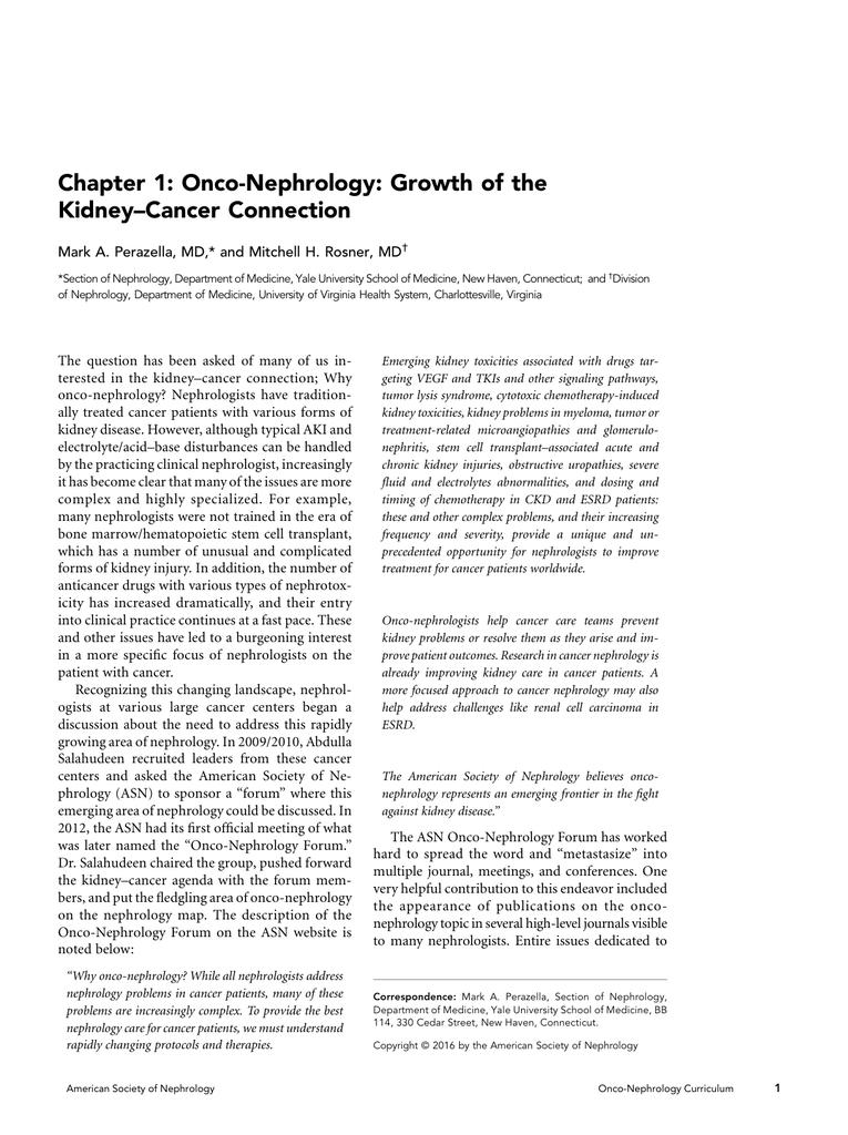 Onco-Nephrology Curriculum - American Society of Nephrology