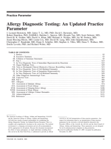 Allergy Diagnostic Testing: An Updated Practice Parameter
