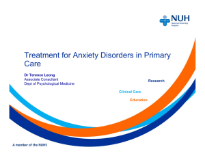 Drug treatment for Anxiety Disorders