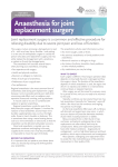 Anaesthesia for joint replacement surgery