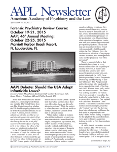 April, 2015 - American Academy of Psychiatry and the Law
