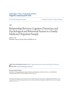 Relationship Between Cognitive Distortions and Psychological and