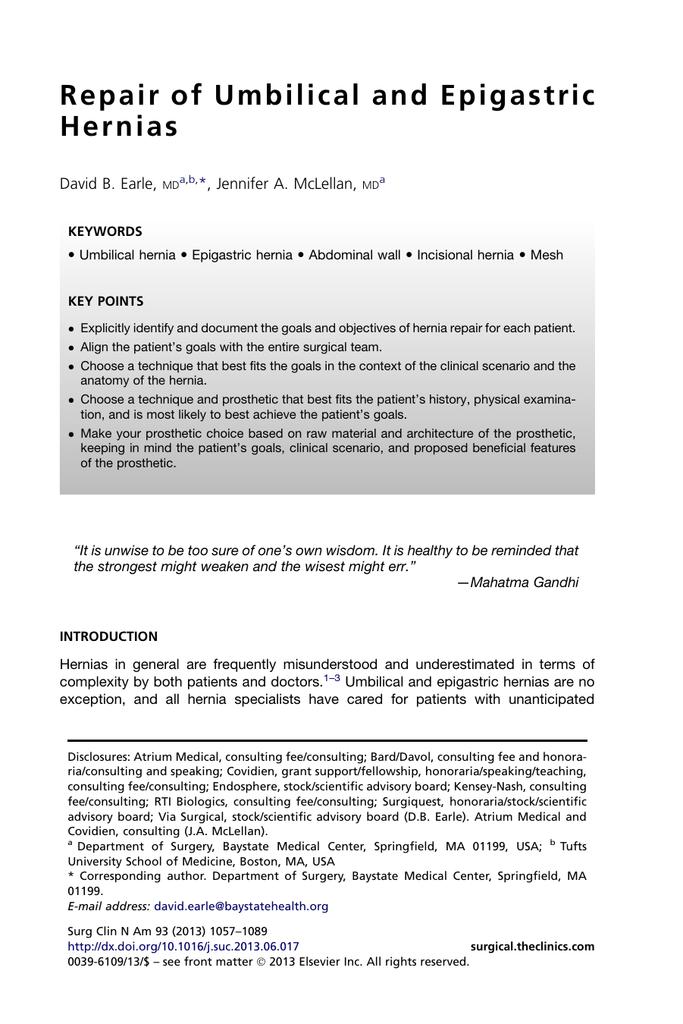Repair of Umbilical and Epigastric Hernias
