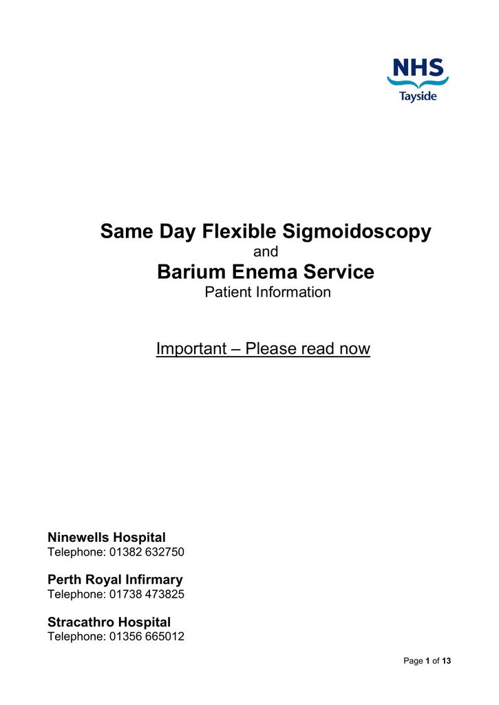 Same Day Flexible Sigmoidoscopy Barium Enema Service