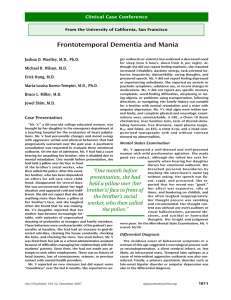 Frontotemporal Dementia and Mania - University of California, San