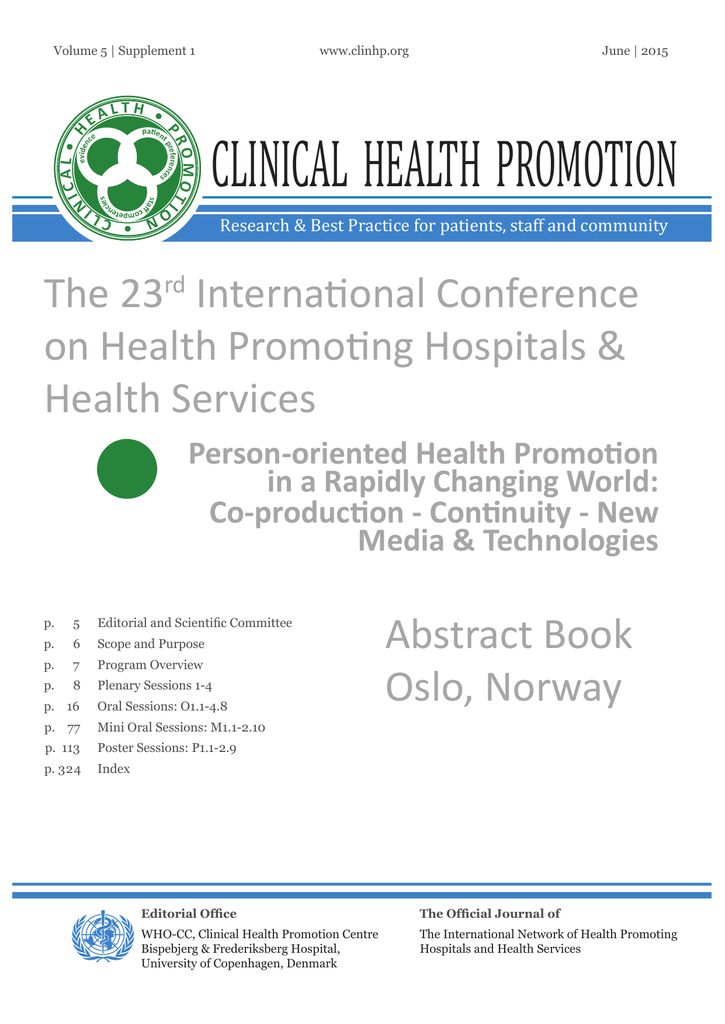 The Abstractbook of the Oslo HPH conferenc - HPH