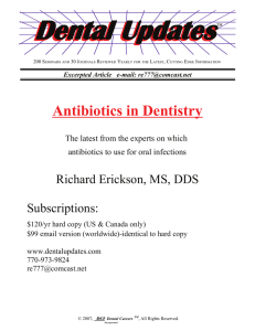 Antibiotics in Dentistry