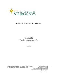 American Academy of Neurology Headache Quality Measurement Set