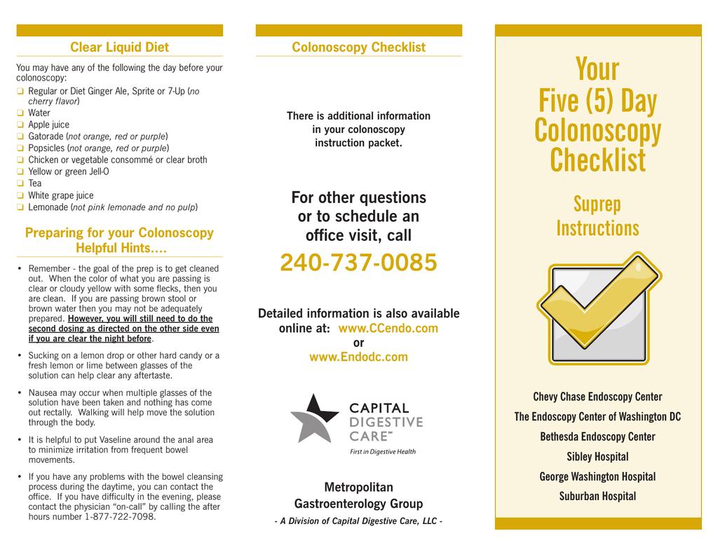 Your Five 5 Day Colonoscopy Checklist