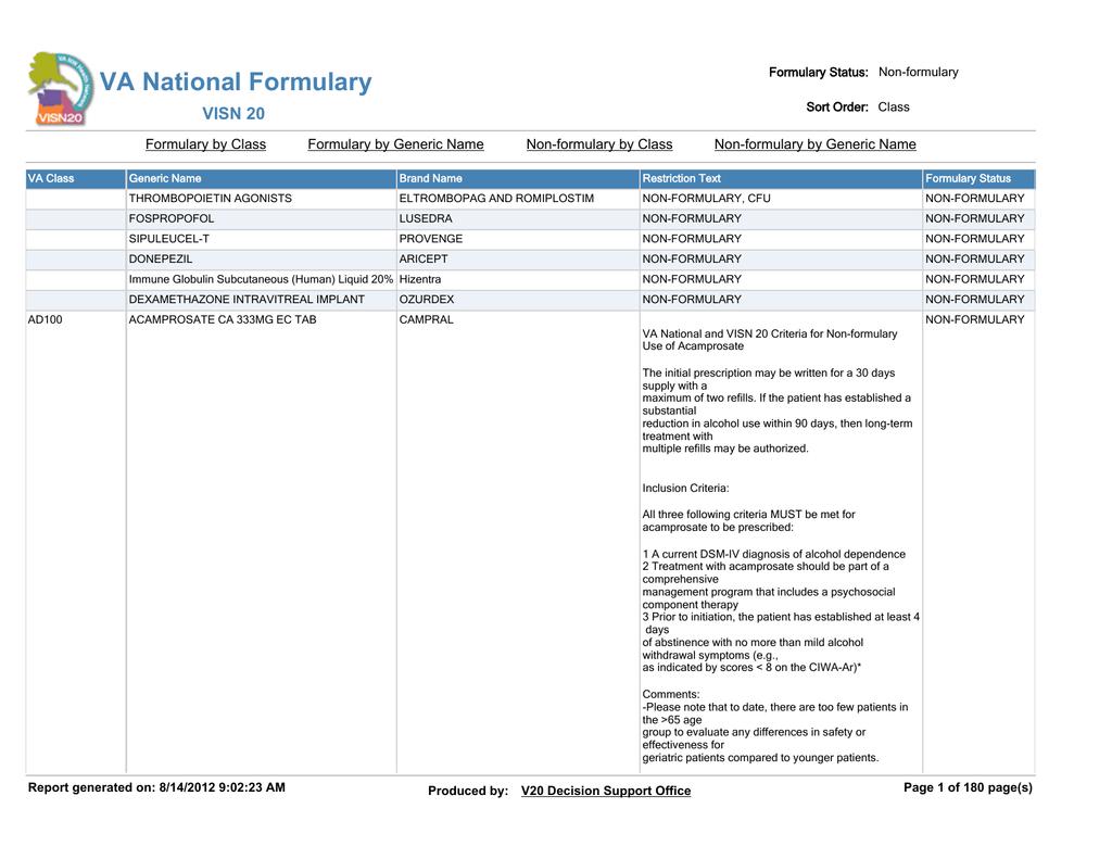 VA National Formulary VISN 20 Formulary by Class Formulary