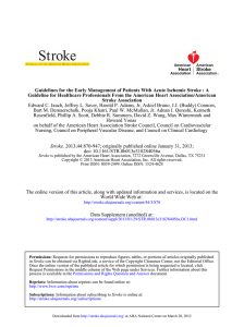 Guidelines for the Early Management of Patients With Acute Ischemic... Guideline for Healthcare Professionals From the American Heart Association/American
