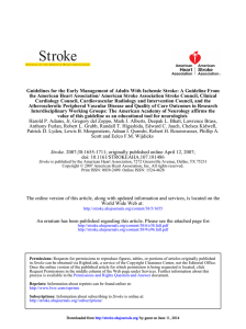 Guidelines for the Early Management of Adults With Ischemic Stroke:... the American Heart Association/ American Stroke Association Stroke Council, Clinical