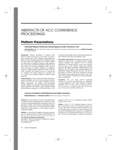 ABSTRACTS OF ACC CONFERENCE PROCEEDINGS Platform Presentations
