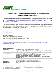 Guidelines for Treatment of Infections in Primary Care
