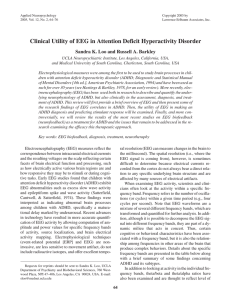 Clinical Utility of EEG in Attention Deficit Hyperactivity Disorder