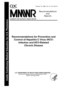 Recommendations for Prevention and Control of Hepatitis C Virus (HCV) Chronic Disease