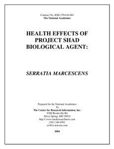 HEALTH EFFECTS OF PROJECT SHAD BIOLOGICAL AGENT: