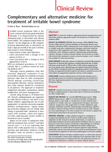 I Clinical Review Complementary and alternative medicine for treatment of irritable bowel syndrome