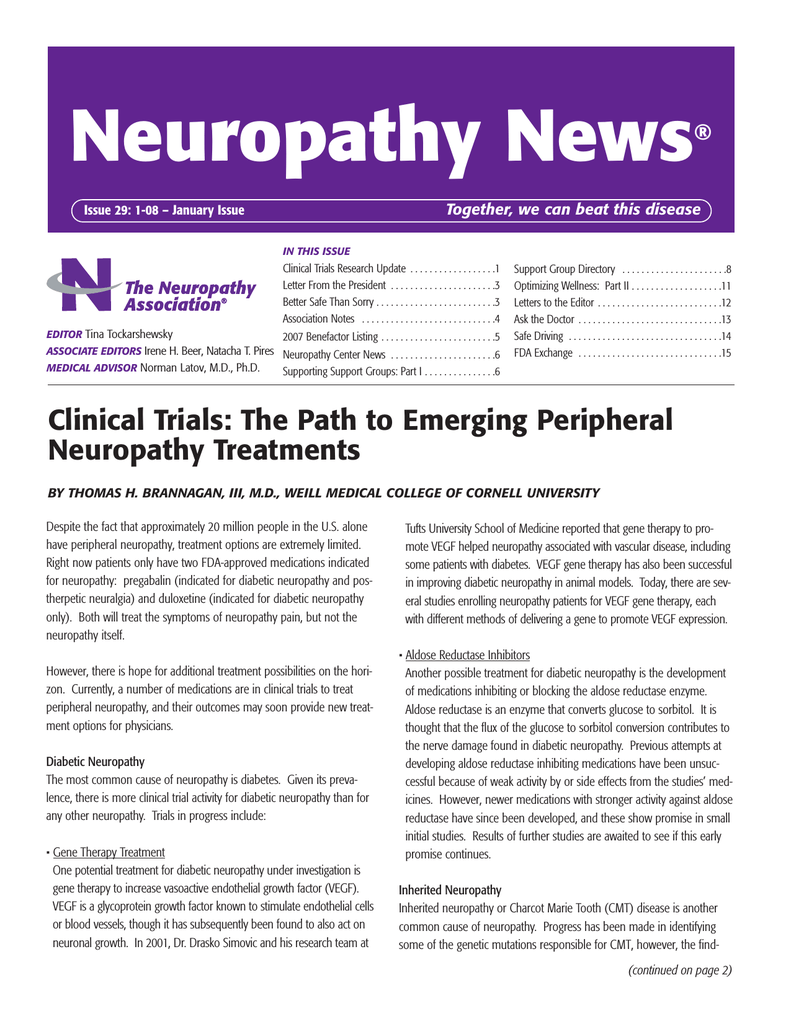 be1c024c52 Neuropathy News ® Together, we can beat this disease