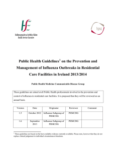 Public Health Guidelines on the Prevention and Care Facilities in Ireland 2013/2014