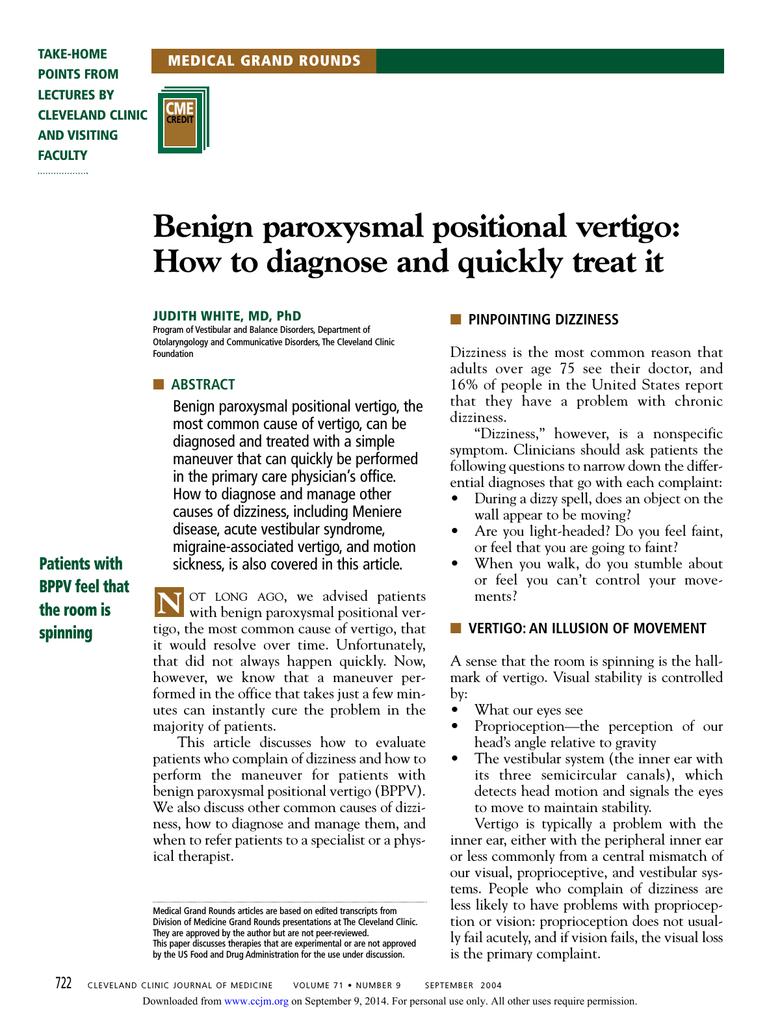 Benign Paroxysmal Positional Vertigo How To Diagnose And