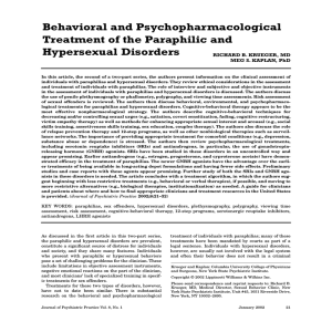 Behavioral and Psychopharmacological Treatment of the Paraphilic and Hypersexual Disorders