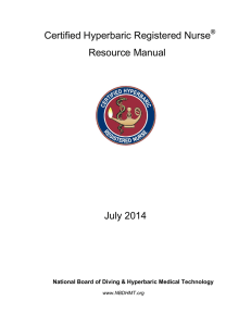 Certified Hyperbaric Registered Nurse Resource Manual July 2014