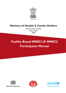 Facility Based imnci (F-imnci) Participants manual Ministry of Health & Family Welfare