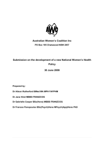 Australian Women`s Coalition Inc Submission on the development of