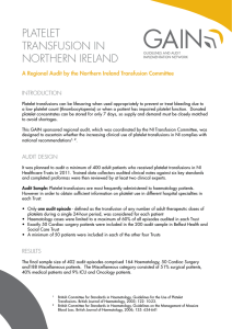 PLATELET TRANSFUSION IN NORTHERN IRELAND
