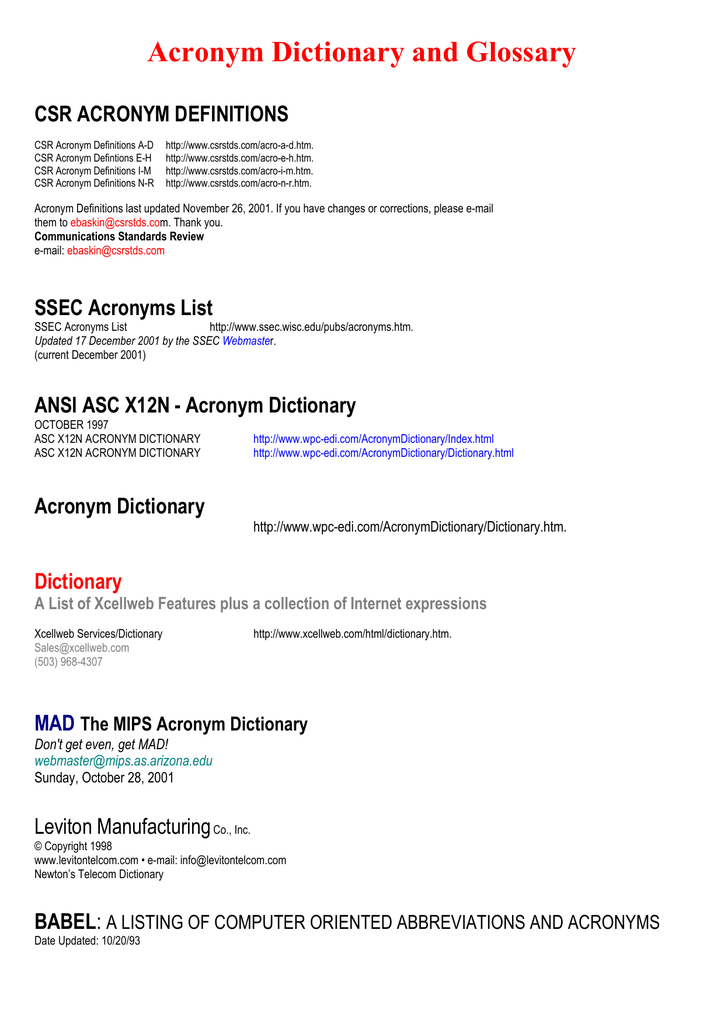 Acronym Dicitonary and Glossary