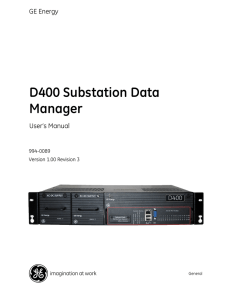 994-0089 D400 Substation Data Manager User`s Manual.book