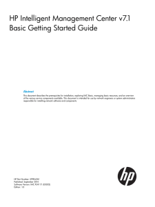 HP Intelligent Management Center v7.1 Basic Getting Started Guide