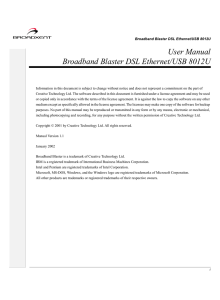 User Manual Broadband Blaster DSL Ethernet/USB 8012U