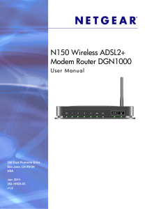 N150 Wireless ADSL2+ Modem Router DGN1000 User