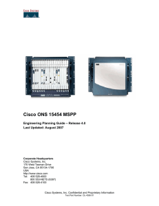 Cisco ONS 15454 MSPP Engineering Planning Guide, Release 4.0