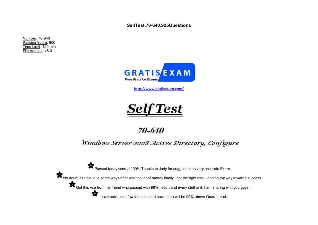 SelfTest 70-640 925Questions