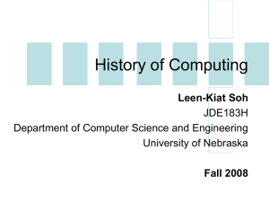 History of Computing - Department of Computer Science and