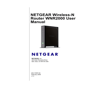 NETGEAR Wireless-N Router WNR2000 User Manual , Inc.