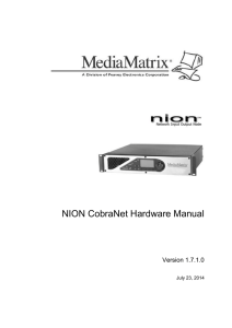 NION CobraNet Hardware Manual  Version 1.7.1.0 July 23, 2014