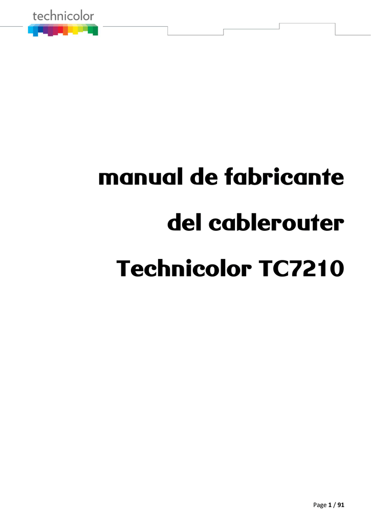 manual de fabricante del cablerouter Technicolor TC7210