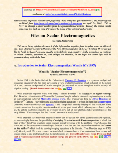 Files on Scalar Electromagnetics