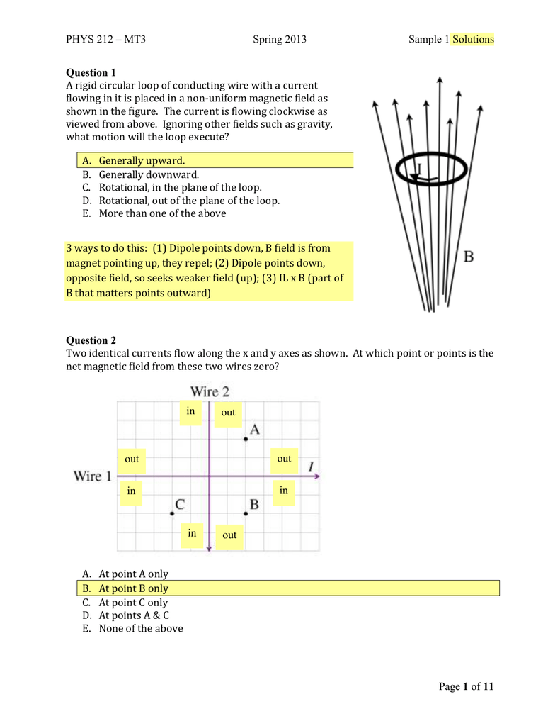 PHYS 212 – MT3 Spring 2013 Sample 1 Solutions