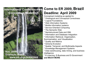 Come to ER 2009, Brazil Deadlines: April 2009 Conceptual