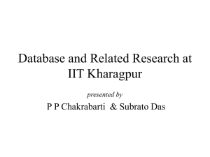 Database & Allied Research at IIT Kharagpur